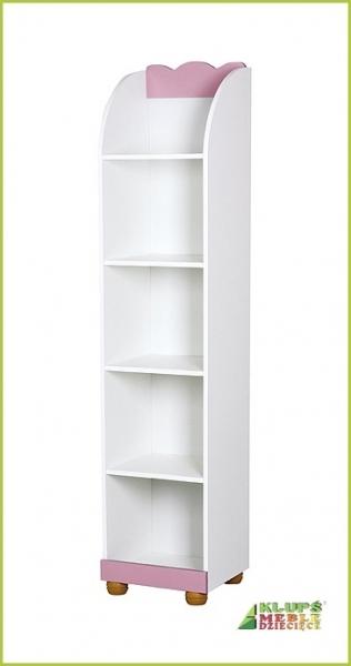 Regál Princezná, biela / ružová -  rozmer: 184x42x52cm
