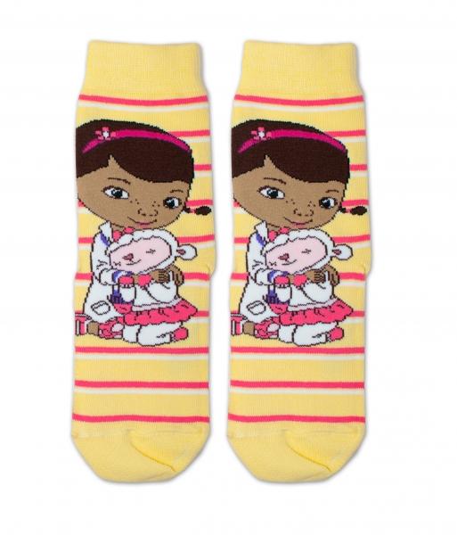 Bavlnené ponožky Disney Doc McStuffins - žlté, veľ. 23/26