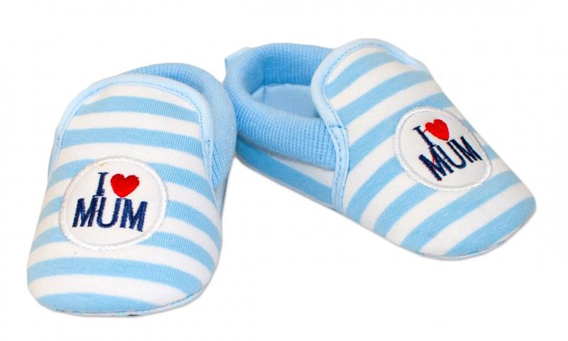YO! Dojčenské topánky /capáčky I love Mum - modré, 6-12 mesiacov
