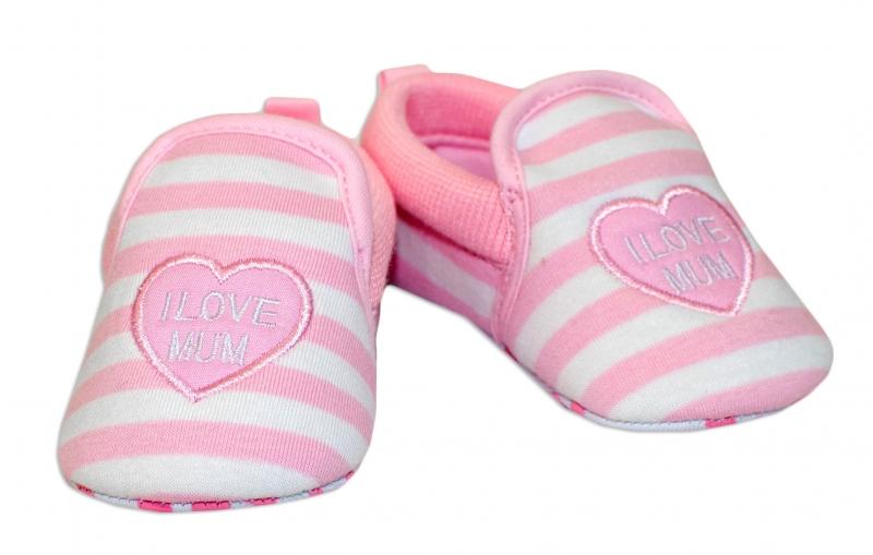 YO! Dojčenské topánky /capáčky I love Mum - růžové, 6-12 mesiacov-6/12měsíců