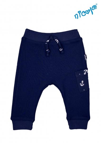 Kojenecké bavlnené tepláky Nicol, Sailor - tm. modré, veľ. 80-80 (9-12m)