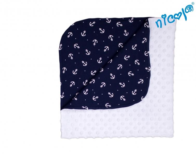 Detská deka, dečka Nicol, Sailor - biela/tm. modrá s potlačou