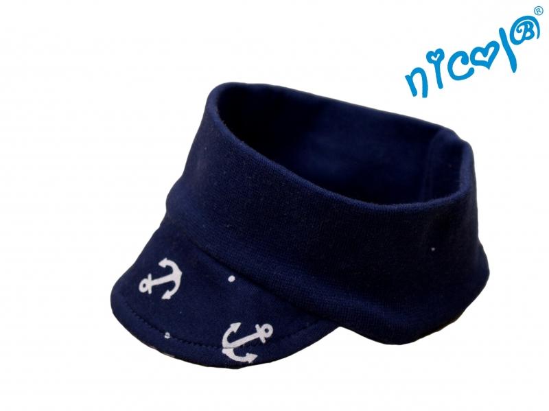 Dojčenská čelenka so šiltom Nicol Sailor - tm. modrý-56/62