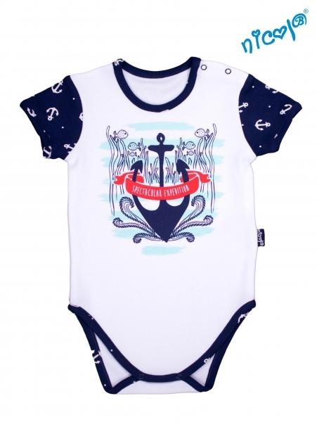 Dojčenské body Nicol - krátky rukáv, Sailor - biele veľ. 86