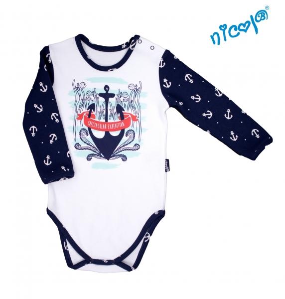 Dojčenské body Nicol dlhý rukáv, Sailor  - biele, veľ. 86-86 (12-18m)