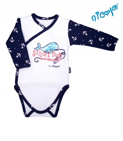 Dojčenské body Nicol dlhý rukáv - zapínanie bokom, Sailor - biele