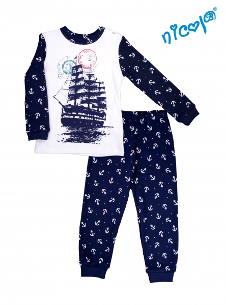 Dojčenské pyžamo Nicol, Sailor  - biele/tm. modré