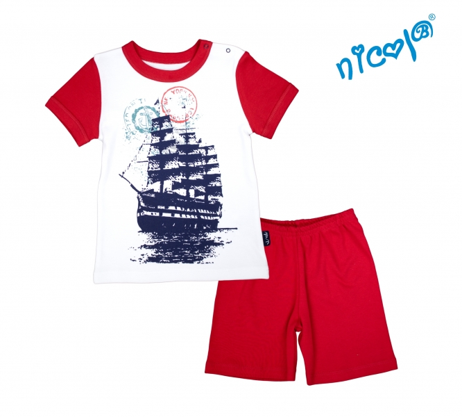 Dojčenské pyžamo krátke Nicol, Sailor  - biele/červené, vel. 86
