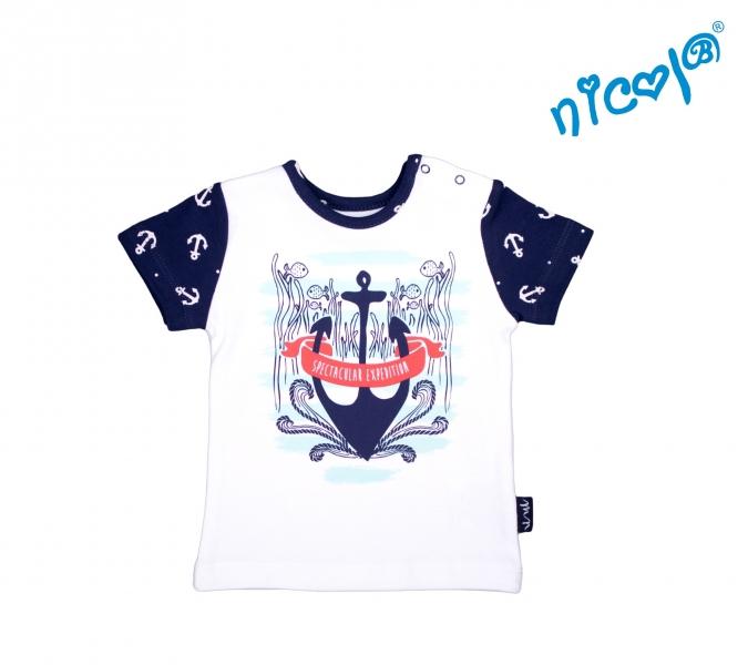Dojčenské bavlnené tričko Nicol, Sailor - krátky rukáv, biele-56 (1-2m)