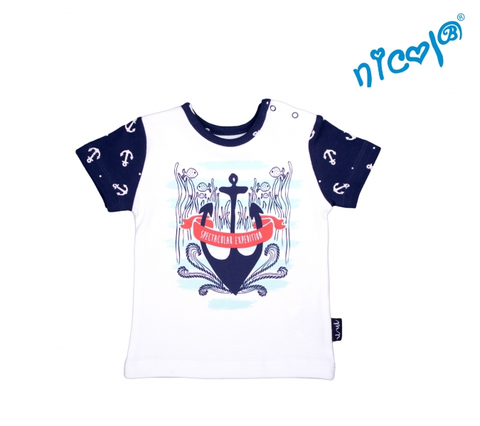 Dojčenské bavlnené tričko Nicol, Sailor - krátky rukáv, biele, veľ. 80