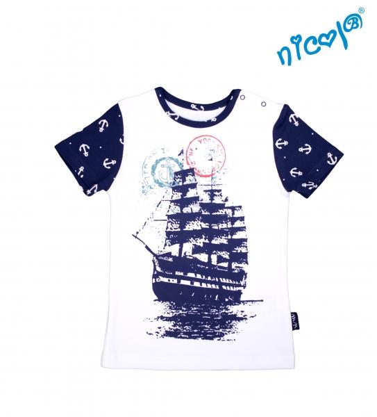 Dojčenské bavlnené tričko Nicol, Sailor - krátky rukáv, biele, vel. 86