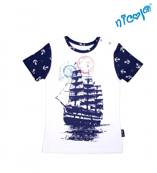 Detské bavlnené tričko Nicol, Sailor - krátky rukáv , vel. 116-#Velikost koj. oblečení;116