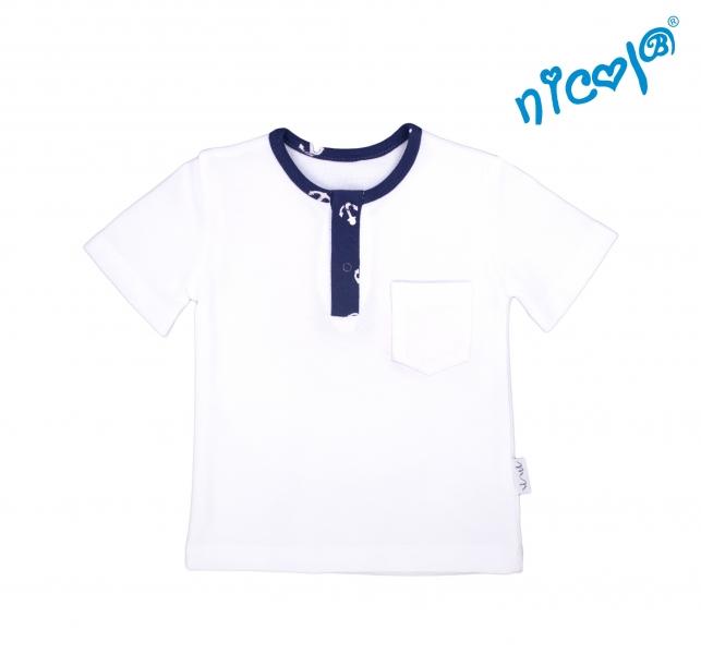 Dojčenské bavlnené tričko krátky rukáv Nicol, Sailor - biele-56 (1-2m)