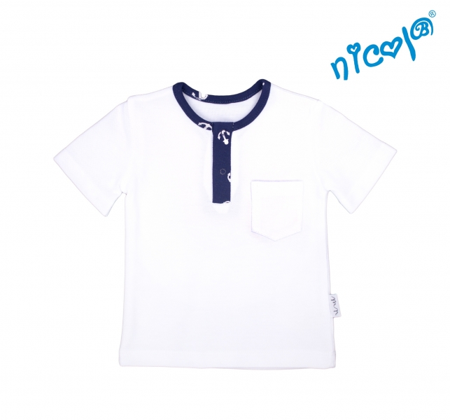 Dojčenské bavlnené tričko krátky rukáv Nicol, Sailor - biele, veľ. 86