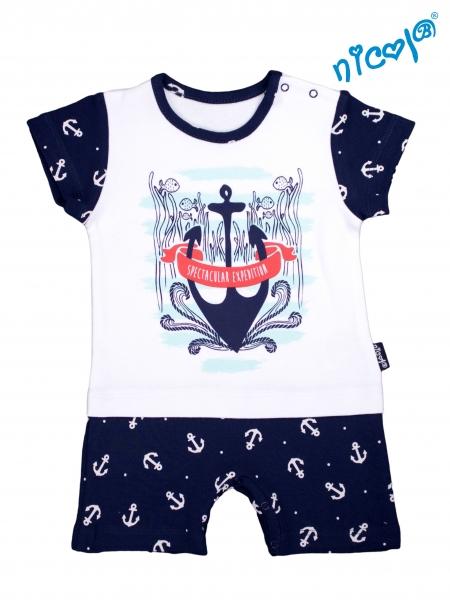 Dojčenské body s nohavičkami Nicol - krátky rukáv, Sailor - biele/tm. modré