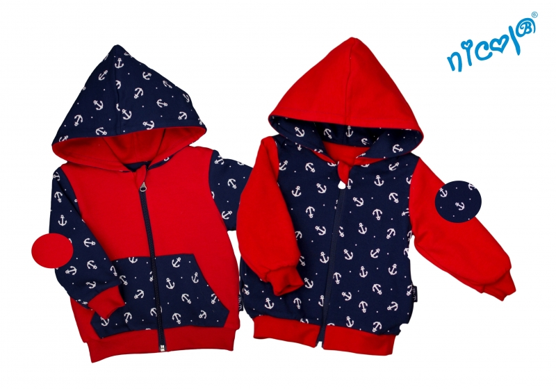 Dojčenská bunda / mikina Nicol obojstranná, Sailor - granát / červená, veľ. 62