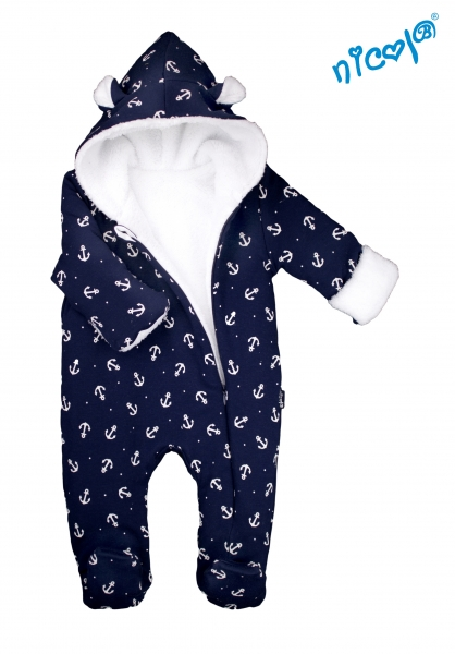Dojčenský overal / kombinéza Nicol s kapucňou, oteplenie, Sailor luna - tm. modrý, veľ. 80