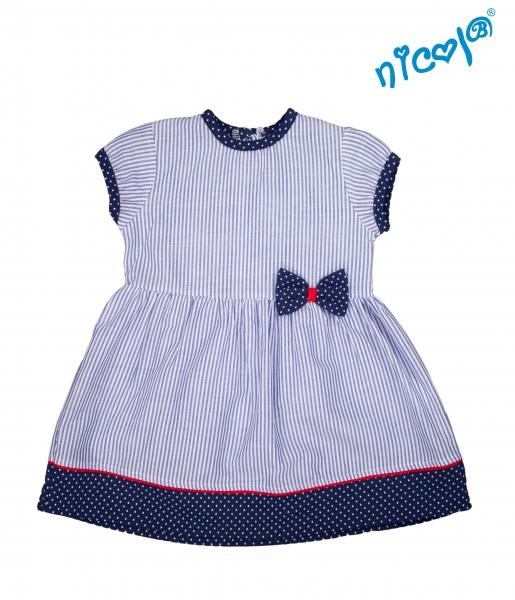 Dojčenské šaty Nicol, Sailor - granátové/prúžky, veľ. 68