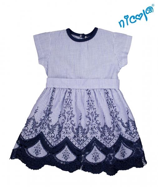 Detské šaty Nicol, Sailor - granátové/prúžky, vel. 128-#Velikost koj. oblečení;128