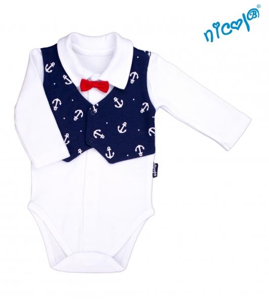 Dojčenské body Nicol s vestičkou a motýlikom - dlhý rukáv, Sailor - veľ. 62-62 (2-3m)