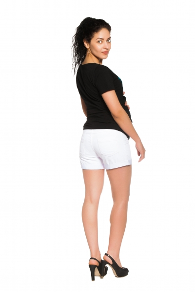 Tehotenské, dojčiace tričko Flamingo - čierne