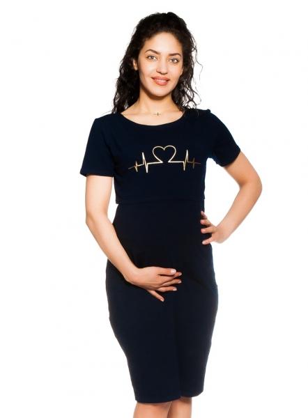 Be MaaMaa Tehotenská, dojčiaca nočná košeľa Heartbeat - granátová, veľ. S/M