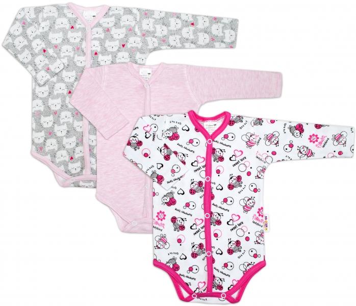 Dojčenská dievčenská sada body zapínanie uprostred Baby Nellys ® - 3 ks, veľ. 62
