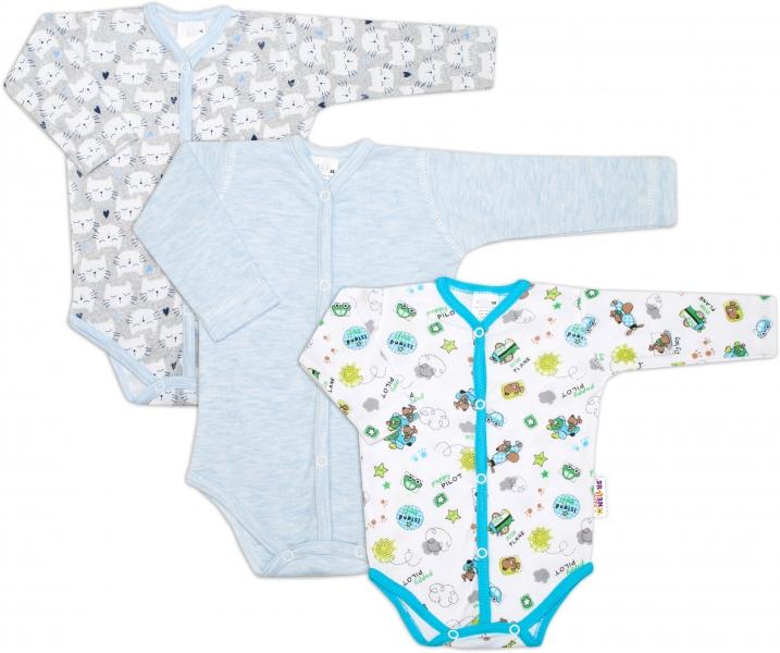 Dojčenská chlapčenská sada body zapínanie uprostred Baby Nellys ® - 3 ks, veľ. 62