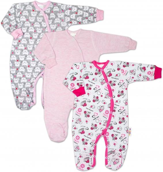 Dojčenská dievčenská sada overáliku zapínanie bokom Baby Nellys ® - 3 ks, veľ. 68