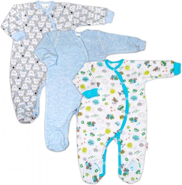 Dojčenská chlapčenská súprava overalov zapínanie bokom Baby Nellys ® - 3 ks, veľ. 68