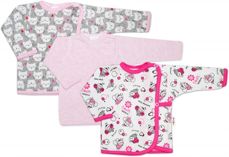 Novorodenecká dievčenská sada košieľok Baby Nellys ® - 3 ks, veľ. 68