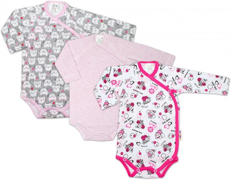 Dojčenská dievčenská sada body zapínanie bokom Baby Nellys ® - 3 ks, veľ. 68