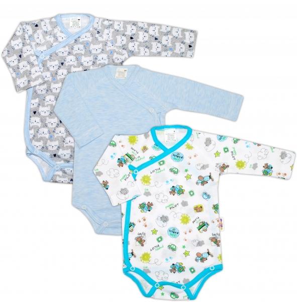 Dojčenská chlapčenská sada body zapínanie bokom Baby Nellys ® - 3 ks, veľ. 68