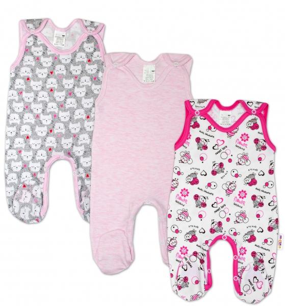 Dojčenská dievčenská sada dupačiek Baby Nellys ® - 3 ks, veľ. 68-68 (4-6m)