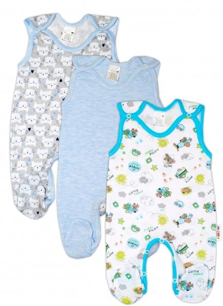 Dojčenská chlapčenská sada dupačiek Baby Nellys ® - 3 ks, veľ. 62-62 (2-3m)