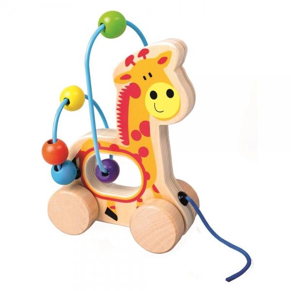Bino Edukačná drevená hračka Labyrint - Žirafa