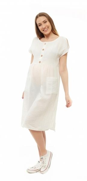 Tehotenské letné šaty kr. rukáv - ecru