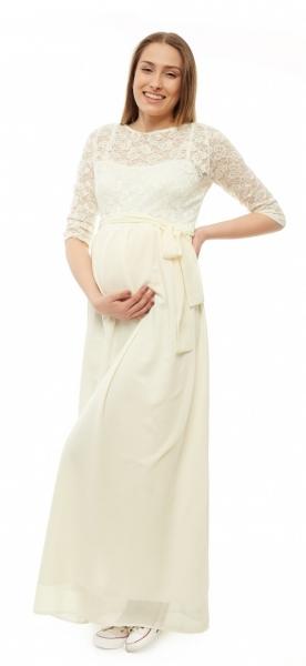 Tehotenské dlhé čipkované šaty - ecru