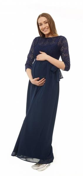 Tehotenské dlhé čipkované šaty  - granátové