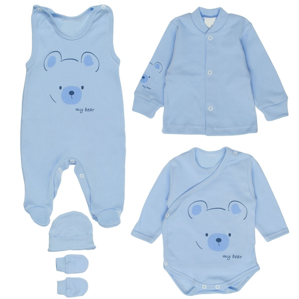 MBaby Súpravička do pôrodnice 5D - My Bear - modrá,veľ. 50