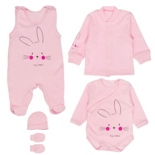 MBaby Súpravička do pôrodnice 5D - My Rabbit - ružová, veľ. 62-62 (2-3m)