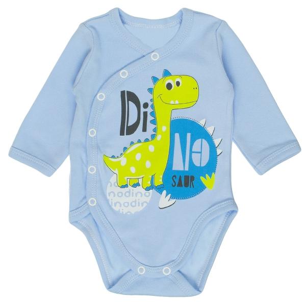 Bavlnené body MBaby s dlhým rukávom a zapínaním na boku Dino - modré