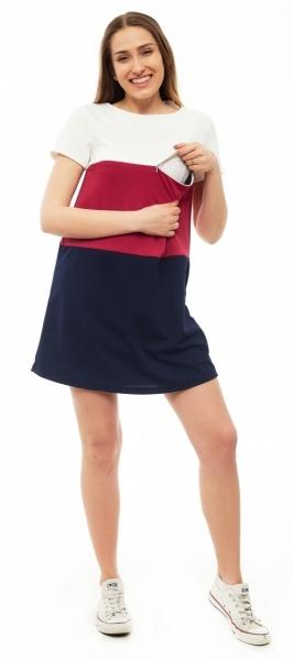Tehotenské, dojčace šaty kr. rukáv - granátové