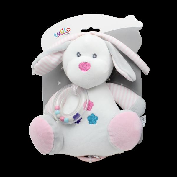 Tulilo Závesná plyšová hračka s melódiou Psík - biely