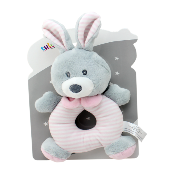 Plyšová hračka Tulilo s hrkálkou Zajačík, 17 cm - ružový