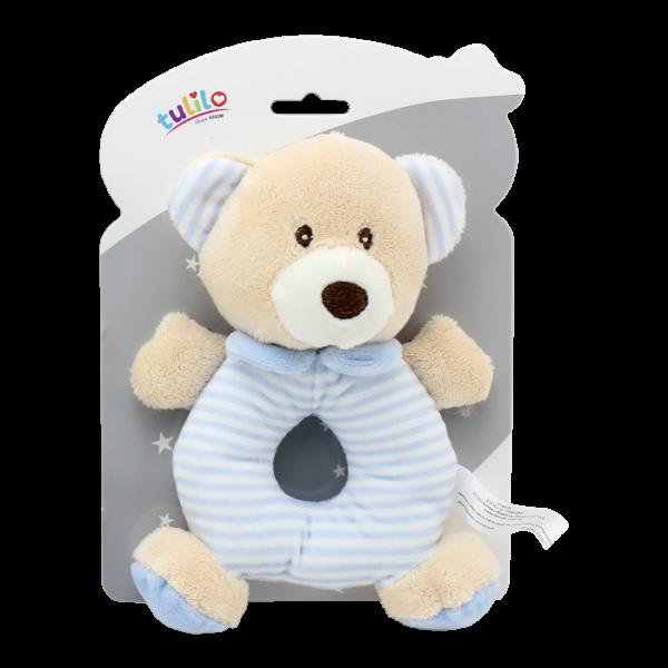 Plyšová hračka Tulilo s hrkálkou Medvedík, 17 cm - modrý
