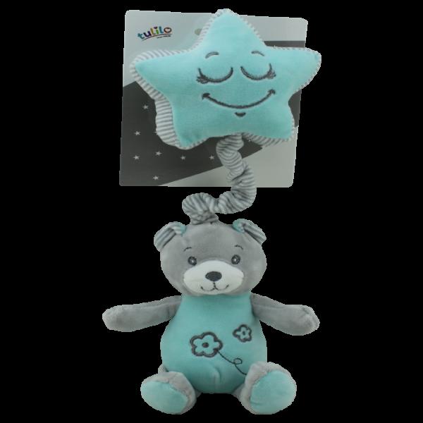 Závesná plyšová hračka Tulilo s melódiou Medvedík, 19 cm - mäta