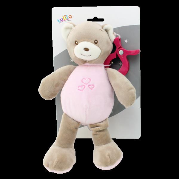 Závesná plyšová hračka Tulilo s hrkalkou Medvedík, 25 cm - ružový