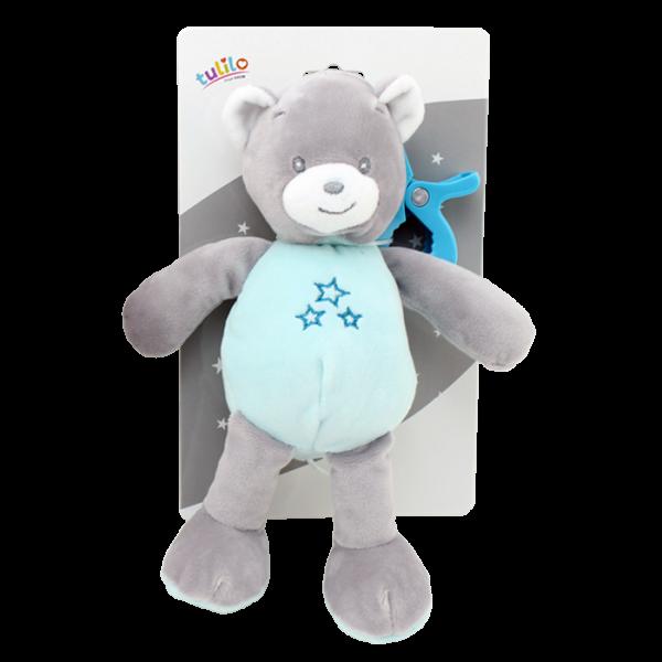 Závesná plyšová hračka Tulilo s hrkalkou Medvedík, 25 cm - mätový