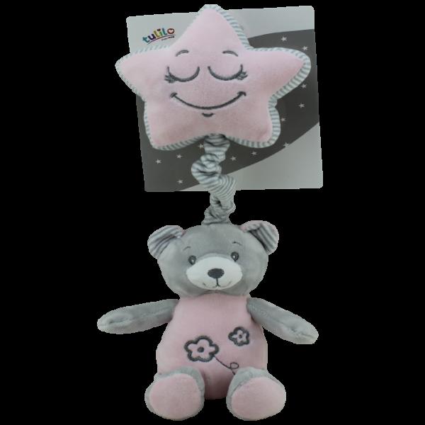 Závesná plyšová hračka Tulilo s melódiou Medvedík, 19 cm - ružový